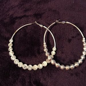 Very large silver hoops